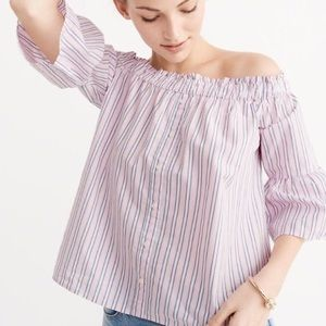 Abercrombie & Fitch Off The Shoulder Poplin Blouse